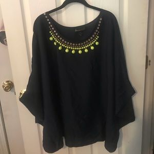 Plus Size Lane Bryant Blue Embellished Top.